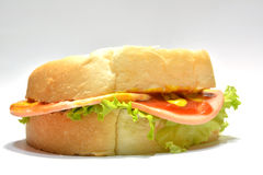 Sandwich op witte achtergrond Stock Foto