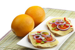 Sandwich and orange Stock Photo