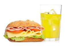 Sandwich and orange soda Stock Photo