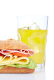 Sandwich and orange soda Royalty Free Stock Photos