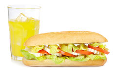Sandwich and orange soda Stock Photography
