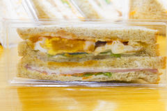 Sandwich in package. Homemade sandwich in plastic package Stock Photography