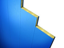 Sandwich panel. Wall blue sandwich panels with filler are interconnected Stock Photo