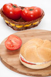 Sandwich with pasta and fresh tomatoes Stock Images