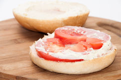 Sandwich with pasta and fresh tomatoes Stock Photo