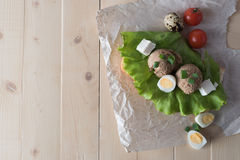 Sandwich with paste from chicken liver and Stock Photography