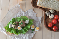 Sandwich with paste from chicken liver and Stock Photos