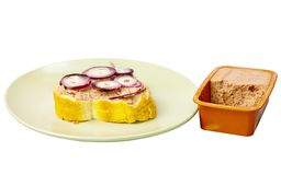 Sandwich with paste and onions. Royalty Free Stock Photos