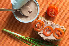 Sandwich with pate tomato and green onion Royalty Free Stock Image