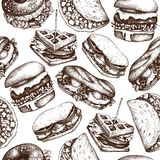 Fast food restaurant background. Seamless pattern with hand drawn burgers, tacos, sandwiches, waffles, bagles sketches. Vintage il. Lustration stock illustration