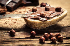 Sandwich with peanut butter and hazelnuts royalty free stock photos