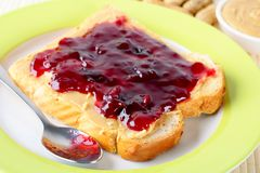 Sandwich with peanut butter and jam Royalty Free Stock Photo