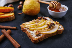Sandwich with pear Royalty Free Stock Image