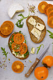 Sandwich with persimmon Royalty Free Stock Photos