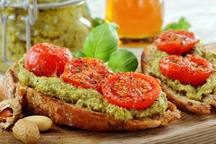 Sandwich with pesto and roasted tomatoes Stock Image