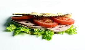 Sandwich. Piadina sandwich with tomato, celery and italian sausage mortadella Stock Images