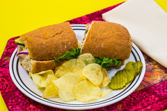 Sandwich With Pickles & Chips Stock Photo