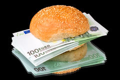 Sandwich with a pile of euro Royalty Free Stock Photos