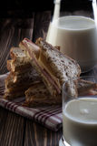 Sandwich and pitcher of milk Royalty Free Stock Image