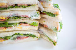 Sandwich in plastic wrap Stock Images