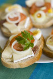 Sandwich plate. A plate of sandwiches. Cheese, salami, egg,leaf,tomato,onion Stock Images