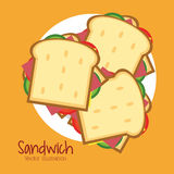Sandwich plate bread lunch snack icon. Food and menu design. Colorfull and flat illustration Stock Photography