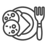 Sandwich on a plate line icon. Dinner vector illustration isolated on white. Bread with sausage outline style design. Designed for web and app. Eps 10 stock illustration