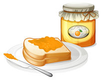 A sandwich in a plate with an orange jam Stock Photos