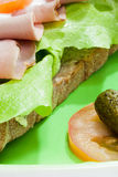 Sandwich on the plate with pickles Royalty Free Stock Photo