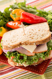 Sandwich On Plate With Turkey Ham and Sweet Peppers Royalty Free Stock Image