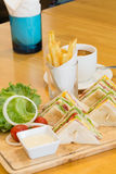 Sandwich Platter. With coffee and french fries Stock Images