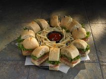 Sandwich platter with fries Royalty Free Stock Photos