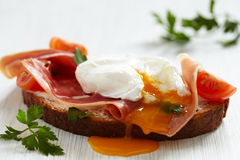 Sandwich with poached egg Royalty Free Stock Photo