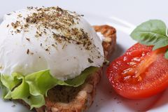 Sandwich with poached egg macro horizontal Stock Photos
