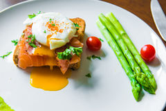 Sandwich with poached egg, parma ham and Salmon Royalty Free Stock Photo