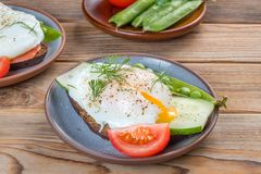 Sandwich with a poached egg and peas and tomato on a plate on wooden background. Sandwich with a poached egg and peas and tomato on a plate royalty free stock image