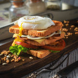 Sandwich with poached egg, tomato, bacon and green salad Royalty Free Stock Photo