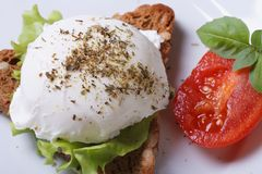 Sandwich with poached egg top view. close-up Stock Photography