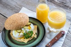 Sandwich with poached eggs Stock Images