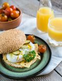 Sandwich with poached eggs Stock Image