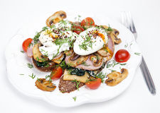 Sandwich with poached eggs Royalty Free Stock Images