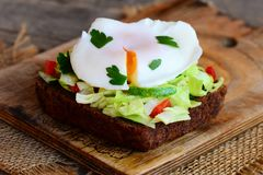 Sandwich poché à oeufs faits maison Egg poché sur la tranche de pain de seigle avec les légumes frais et le persil Déjeuner sain Photographie stock libre de droits