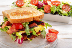 Sandwich with pork cheese and salad Stock Photo