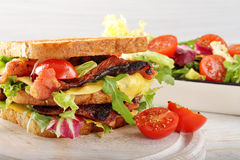 Sandwich with pork cheese and salad Royalty Free Stock Photos
