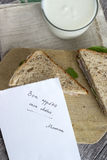 Sandwich with post it note Royalty Free Stock Image