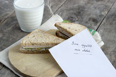 Sandwich with post it note Stock Images
