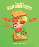 Sandwich Poster in vintage style. Royalty Free Stock Images