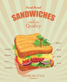 Sandwich Poster in vintage style. Stock Images