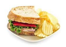 Sandwich and potato chips Stock Image