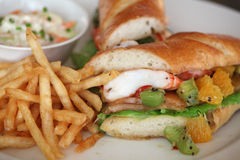 Sandwich with prawn seafood Stock Images